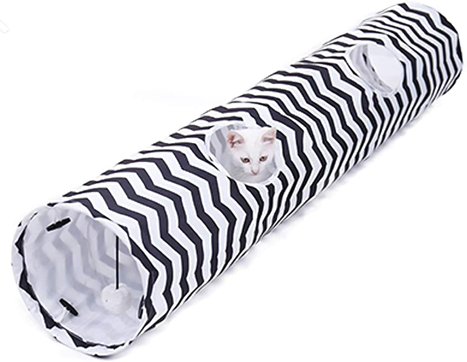 Cat Tunnel,Portable Collapsible Pet Toy,Crinkle Peep Hole Pet White Black Striped Squeak Tunnel,Kitty Toys for Puzzle Exercising Hiding Training,130  25Cm
