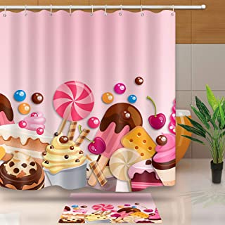 NEWTOO Delicious Creamy Cupcakes Feast Pink Background Shower Curtain, Waterproof Fabric Bathroom Curtain, 72 X 72 Inches, Pink, LYNT029