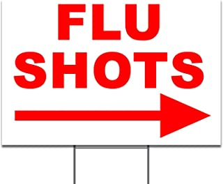 Flu Shots Left & Right Directional Arrow Yard Sign / Lawn Signage
