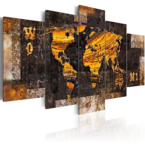 B&D XXL murando Akustikbild Weltkarte 225x112 cm Pinnwand Korktafel Korkwand Schallschutz Leinwand Akustikdämmung 5 TLG Wandbild Raumakustik Schalldämmung k-A-0042-b-n