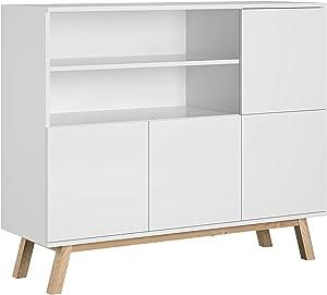 Trend Home Commode de Chambre Buffet Salon 4 Portes 2 Casiers Vero (Blanc Mat)