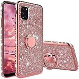 XTCASE Hülle für Samsung Galaxy A31, Glitzer Bling Glänzend Strass Diamant Handyhülle mit 360 Grad Ring Ständer Superdünn Stoßfest TPU Silikon Tasche Schutzhülle - Rosé Gold