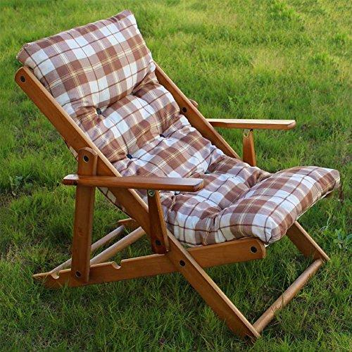 Poltrona Sedia Sdraio Relax 3 Posizioni in Legno Pieghevole Cuscino Imbottito H 100 CM Colore Come Foto (Marrone)