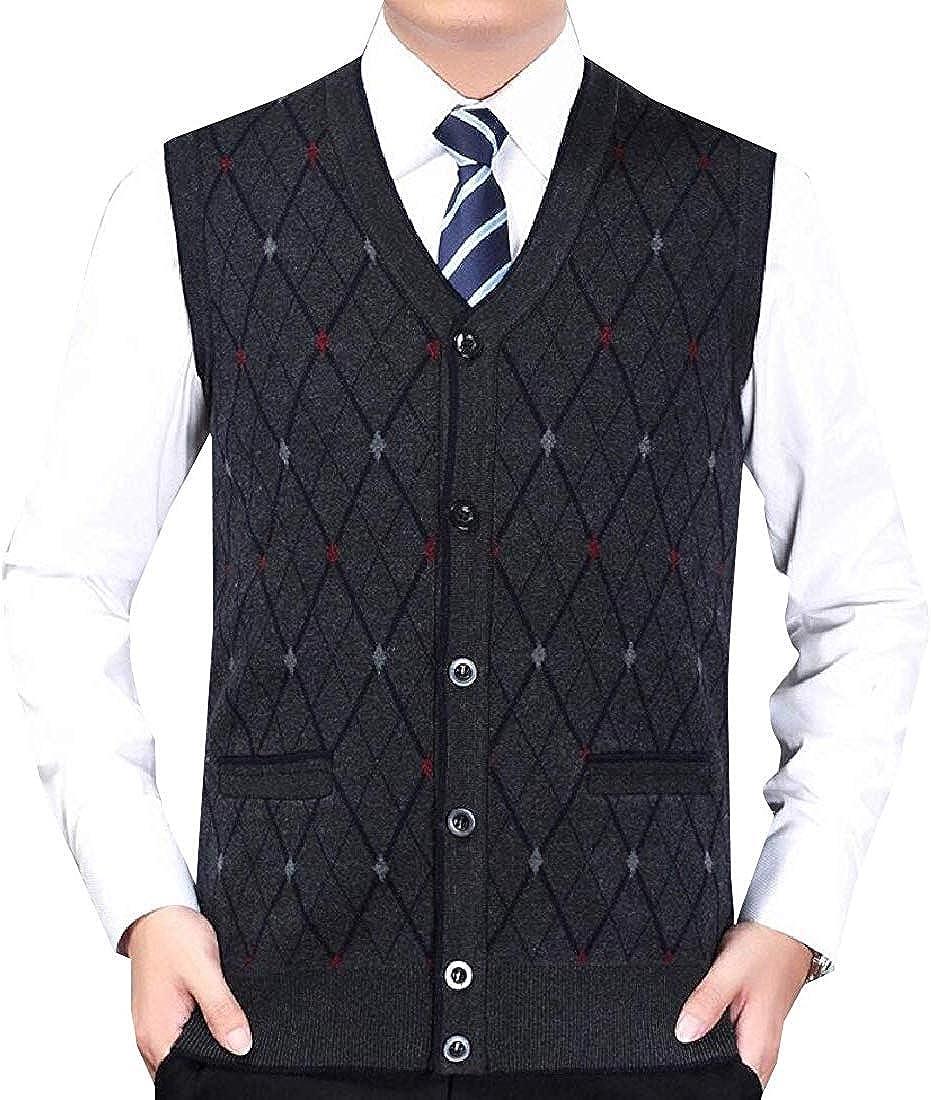Men's Fashion Sleeveless Knit Sweater Vest Casual V Neck Button Waistcoat Cardigan
