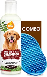 Boltz Anti Tick & Flea Dog Shampoo with Neem,Lemongrass & Tulsi-200 ml with Bath Brush Free | Made in India