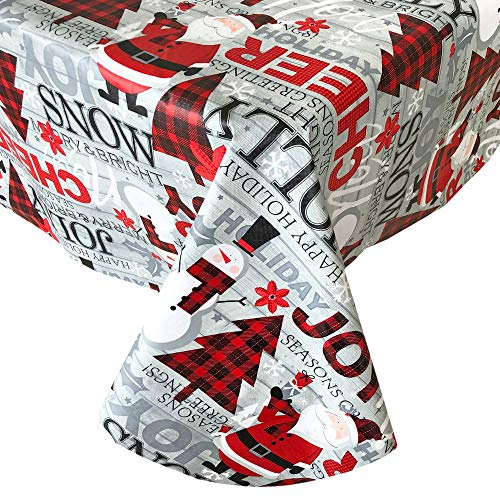 """Newbridge Country Plaid Santa and Snowman Christmas Vinyl Flannel Backed Tablecloth - Red Plaid Jolly Santa Print Wipe Clean Easy Care Kitchen, Dining Room Tablecloth, 60"""" x 84"""" Oval"""