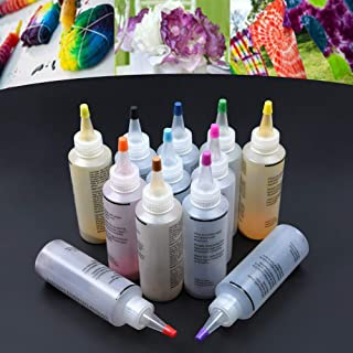 Tie Dye Kit 12pcs Accessoires Pigment Coloré Tissu Jacquard Artisanat Tissu Vibrant Tissu Textile Spirale Arc-En-Ciel Pein...