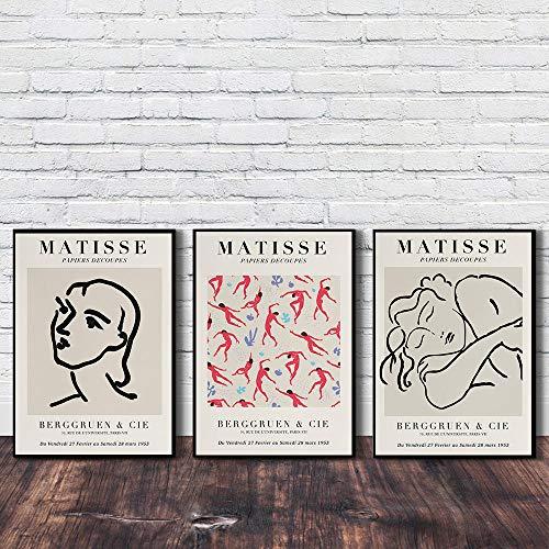 HNZKly Henri Matisse Salon de Decoracion Pintura Abstracto Pintura Danza Poster Minimalista Pared Arte Vintage Beige Cuadro Vida Inicio 40x60cmx3 / Sin Marco W147