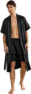 Romwe Men's Satin Robe Lightweight Silk Bathrobe with Shorts Long Sleeve Kimono Robe Nightgown