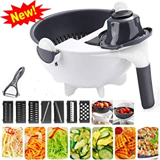 xingxinqi New Upgrade 9 in 1 Multifunction Vegetable Cutter with Drain Basket Magic Rotate Vegetable Cutter Portable Slicer Chopper Grater Kitchen Tool