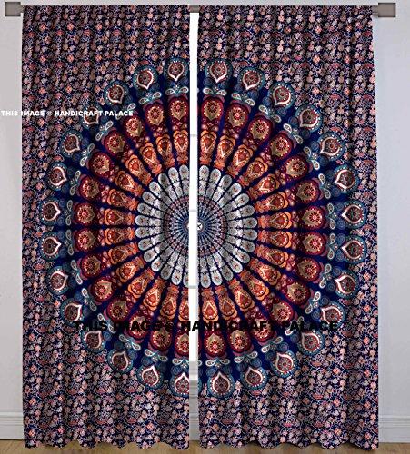 Handicraft-Palace Indischer Pfauen-Mandala-Wandteppich, dekorativer Vorhang für Tür, Fenster, 2 Stück