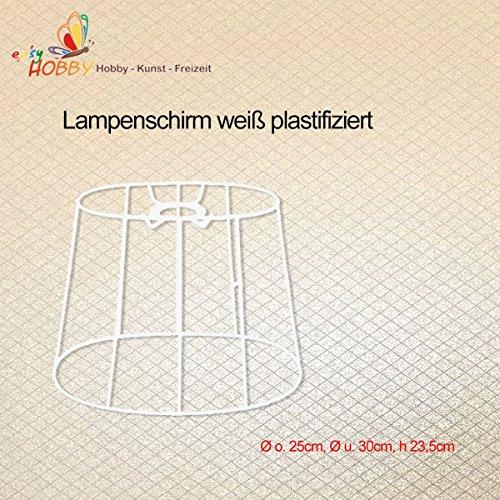 SMITS Lampenschirmgestell, weiß plastifiziert, oval - Ø o. 25cm, Ø u. 30cm, h 23,5cm
