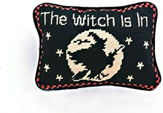 The Witch is in Halloween Witch Needlepoint Wool Throw Pillow, 6.5 Inch X 9 Inch