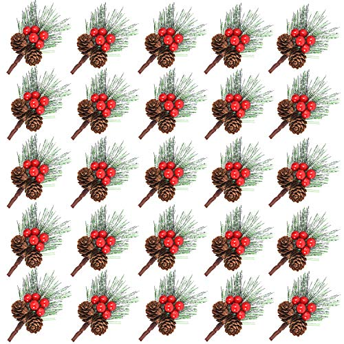 Udefineit 25PCS Faux Mini Snowy Pine Picks with Berries & Pine Cones Christmas Ornaments, Artificial Wispy Frosted Pine Pick Spray for Xmas Holiday Tabletop Arrangements Garland Wreath Decoration