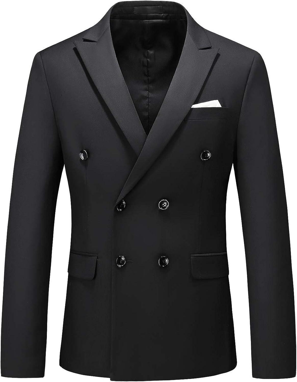 MOGU Mens Double Breasted Blazer Slim Fit Plain Color Suit Jacket