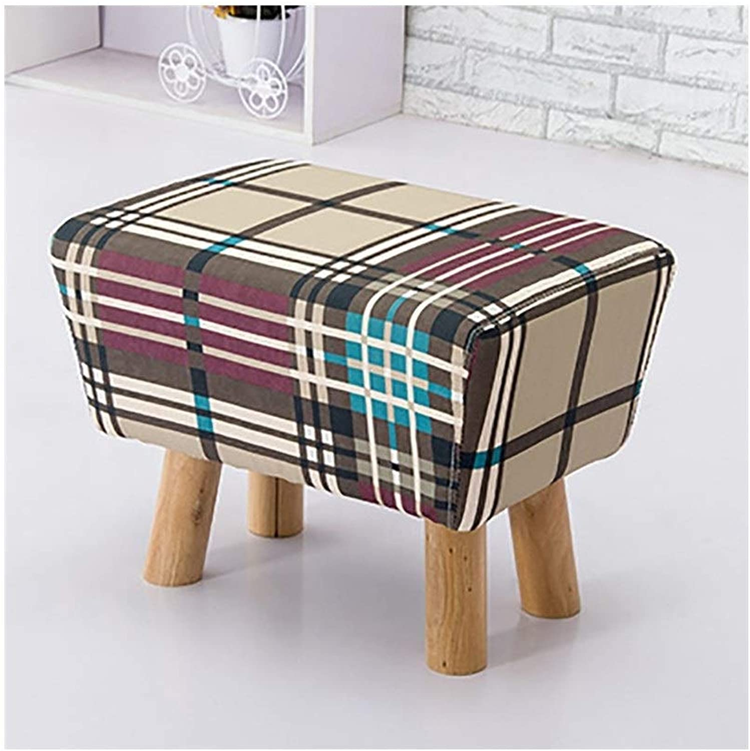 European Chair Creative Stool, Low Stool Fitting Room, shoes Bench, Small Round Stool, Coffee Table Stool, Fabric Stool (Size   52  35  39cm)