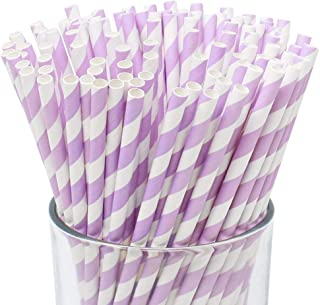 Just Artifacts 100pcs Premium Biodegradable Striped Paper Straws (Striped, Lavender)