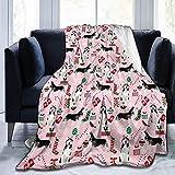 Perro de Navidad Husky Lindo Estampado de Husky Siberiano Lindo Perro Navidad Mejores Perros Linda Manta de Lana Ultra Suave para sofá Cama
