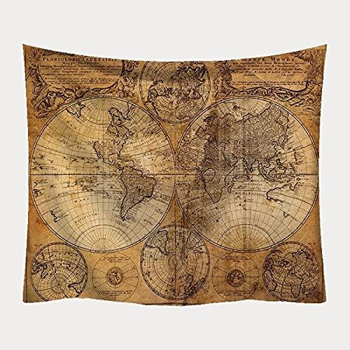 NTtie Tapiz, decoración de Dormitorio, Alfombrilla para Yoga, Toalla para Playa, Impresión del Mapa del Mundo de la tapicería de la decoración del paño de la Pared