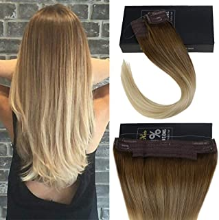 Sunny 14inch Balayage Ombre Halo Human Hair Extensions 80g Medium Brown Fading to Bleach Blonde Straight Halo Real Hair Extensions Remy Hair