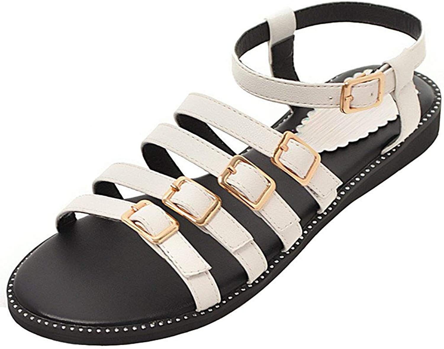 Wallhewb Women's Casual Strappy Sandals - Buckle Ankle Strap Solid color - Flats Gladiators shoes Leather Dress Short Overlapping Sweet Rubber Sole Breathable Dexterous Apricot 7.5 M US Strap Sandals