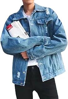 Remhop春秋 メンズ ジャケット デニム ジャケット ダメージ 通勤 高品質 ダメージ 加工 ブルゾン 長袖 大きいサイズ ジージャン長袖 カッコイイ ヴィンテージ