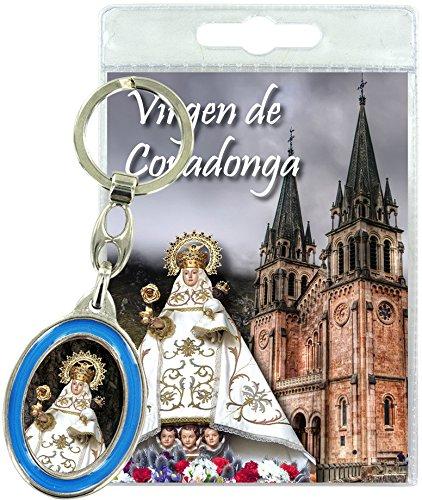 Ferrari & Arrighetti Llavero Virgen de Covadonga con oración en español (Paquete de 3 Piezas)