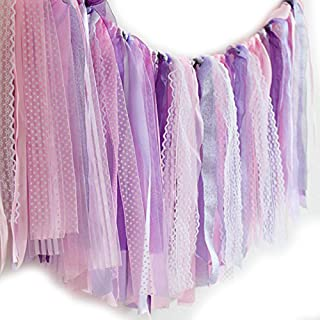 Hangnuo Ribbon Tassel Garland Preassembled Handmade Fabric Banner Hanging Decor for Wedding Baby Shower Gender Reveal Party Photography Backdrop, Purple Lace