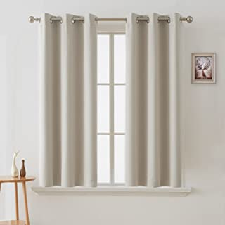 Deconovo Blackout Curtains Room Darkening Thermal Insulated Curtain Panels Grommet for Living Room Light Beige 38 x 45 Inch 2 Panels