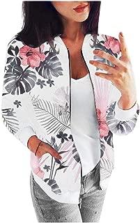 Womens Bomber Jacket Retro Floral Zipper Cardigans Casual Long Sleeve Coat Outwear E-Scenery