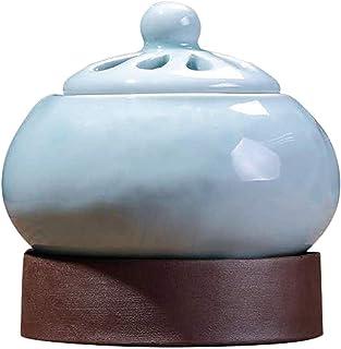 アロマディフューザー ホーム磁器バルコニーポーチパティオガーデンエア香りのための電気アロマエッセンシャルオイル炉セラミック香炉電気Scentsyウォーマーディフューザー (Color : BLUE)