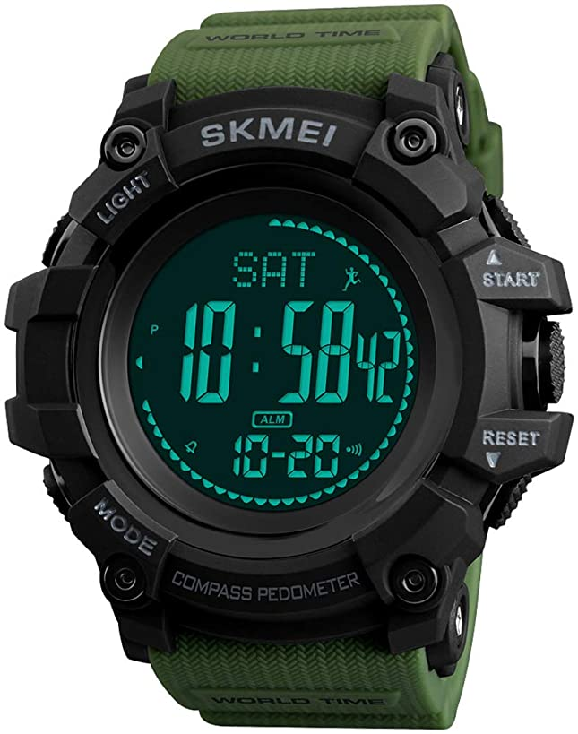 Men's Military Digital Watches Multi-Function Compass 50M Waterproof World Time Countdown 3 Alarm Stopwatch Sports Watch