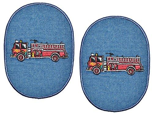 2 Stück - ovaler Flicken / Bügelbild Jeans - Feuerwehr - 8,5 cm * 11,5 cm - oval - Bügelbilder - Aufnäher zum Bügeln und Aufnähen / Applikation für Jungen Kinder Fahrzeug