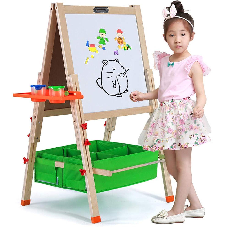 子供のための幼児のアートイーゼル 折りたたみ式の木製のアートイーゼルデラックスイーゼル、子供用(黒板、ホワイトボード、棚またはトレイ付き)、幼児教育のための磁気文字付きスタンドイーゼル(ウッド、2?14歳の子供用) (サイズ : H-145CM Package 1)