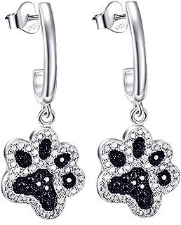 YFN Women Ladies Jewelry 925 Sterling Silver Two-tone Pet Puppy Paw Drop &Dangle Earrings Paw earring Dog Stud Earrings