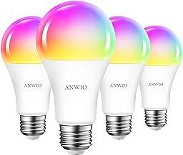 ANWIO Smart Alexa gloeilampen, E27 RGB, bluetooth ledlamp, wifi-lamp, 12 W, vervangt 100 W, 1521 lm, RGB, compatibel met A...