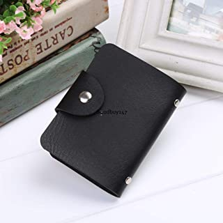Women PU Leather Pocket Business ID Credit Card Holder Case Wallet for 24 Card Black One Size