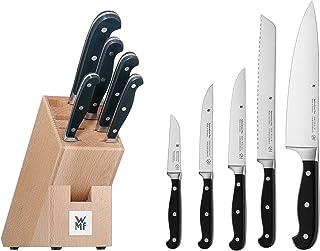 WMF Toppklass plus knivblock med 6 delar, 5 smidda knivar, 1 block av bokträ, Performance Cut, specialbladstål
