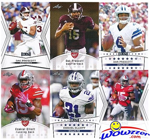 DAK PRESCOTT & EZEKIEL ELLIOTT 2016 Leaf Stars 6 Card Complete ROOKIE Set in MINT Condition! Awesome Looking Limited Edition Rookie Set in Ultra Pro Top Loaders to Protect Them! WOWZZER!