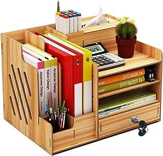 Organiseur de bureau en bois, grande capacité de stockage - Idéal pour les fournitures de bureau, le rangement de fichiers...