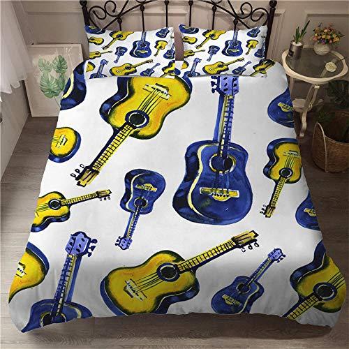 HGFHGD Gitarrenmusik-Serie 3D-Doppelbett-Zubehör-Set für Jungen und Mädchen, groß, King-Size, schwarz, gesteppt, Kissenbezug, dreiteiliges Set