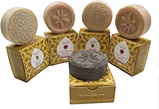 5 round bar set of soaps by Sindyanna, Handmade, Traditionally Made. 2.1 Oz Each. Therapeutic Olive Oil Soap Bars with Natural Extracts and Ingredients Excellent. Cleansing Exfoliant and Antioxidant