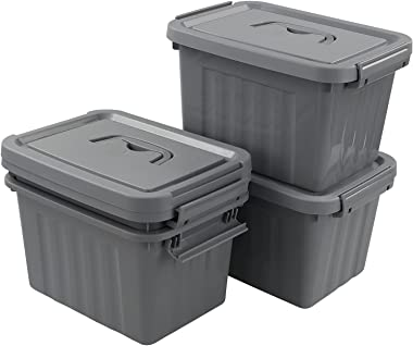 Uumitty 6.5 Quart Plastic Lidded Storage Box, Organizing Latch Bin with Lid/Handles, Grey, 4 Packs