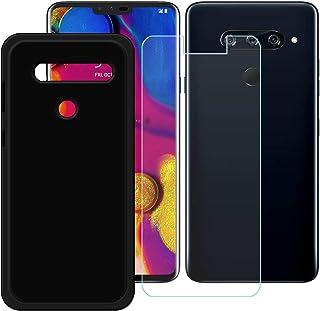 YZKJ Fodral för LG V40 ThinQ Cover svart mjukt silikon skyddsfodral TPU skal fodral pansarglas skärmskydd för LG V40 ThinQ...