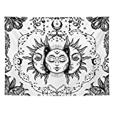 DYRCJ Tapiz De Tarot Sol Y Luna Tapiz Psicodélico Tapiz Celestial Negro Tapiz De Pared Mandala Indio Hippie Bohemio Manta De Playa (T04,200 * 150cm)