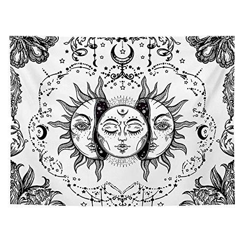 DYRCJ Tapiz De Tarot Sol Y Luna Tapiz Psicodélico Tapiz Celestial Negro Tapiz De Pared Mandala Indio Hippie Bohemio Manta De Playa (T04,150 * 130cm)