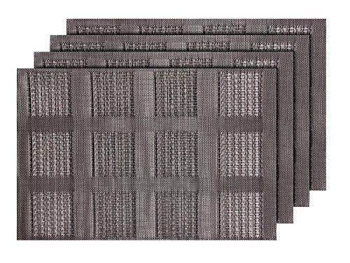 Alsino Lot de 4 Sets de Table (TS-73) Gris Moderne pour décoration Sympa de qualité supérieure en PVC tressé: 45 x 30 cm. Le Set de Table a Un bel Aspect avec sa matière tissée et Brillante Élégante