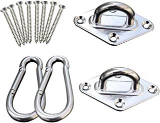 MKLEKYY Hammock Hanging Kit, 1000 lb Capacity Stainless Suspension Ceiling Hooks Heavy Duty 360° Rotate Hammock Swing Hooks for Swing, Yoga Trapeze, Indoor Outdoor Gym, 12pcs/Set (A)