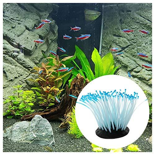 Corail Aquarium Decoration decoratif Artificiel aquariophilie Maison, squarex Réservoir de Poissons Silicone décoration Ornement d'anémone de mer Lumineuse Fish Tank Lumineux (Bleu)