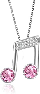 925 Sterling Silver Music Note Necklace Music Clef Ottava Pendant with Pink Swarovski Crystals,Gift for Girls Women Musician